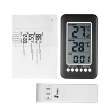LCD Digital Wireless Indoor/Outdoor Termometro Orologio Misuratore di Temperatura Con Trasmettitore adatto per desktop o appeso a parete(China)