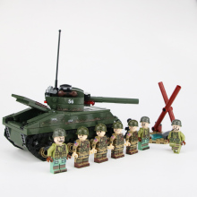 WW2 Military US Sherman M4 Tank Model Building Blocks Army Soldiers Figures Helmet Weapons Bricks Legoed toys