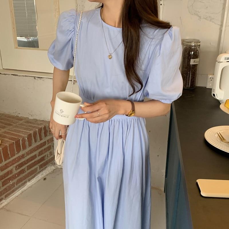 H4eaf737b33c04857bbe1eb3e5453fddez - Summer O-Neck Short Sleeves Elastic-Waist Calf Length Solid Dress