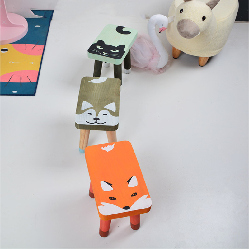 Modern Wooden Toddler Kids Chair Children Room Furniture Cute Cartoon Child Bench Nursery Kindergarten Chair Home Decor