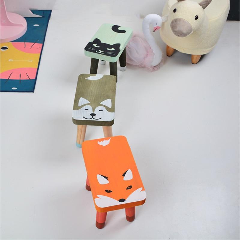 Modern Wooden Toddler Kids Chair Children Room Furniture Cute Cartoon Child Bench Nursery Kindergarten Chair Home Decor