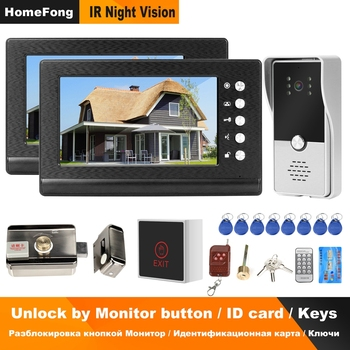 Homefong Wired Video Intercom 2 Monitors Video Door Phone Support 2 Electric Locks For Apartment Home Lock Access Control System