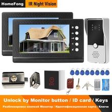 Homefong Wired wideodomofon 2 monitory wideo telefon wsparcie drzwi 2 elektryczne zamki do systemu kontroli dostępu do domu w domu tanie tanio Przewodowy Głośnomówiący CMOS color acrylic 220x135x25mm Ue wtyczka Us wtyczka Au plug Wtyczka uk 12V 1A RA721B-RAP83