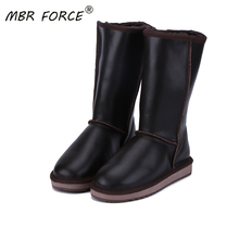 Winter Boots Australia High-Sheepskin Shoes Shearling-Lined Waterproof Women Knee Mbr-Force