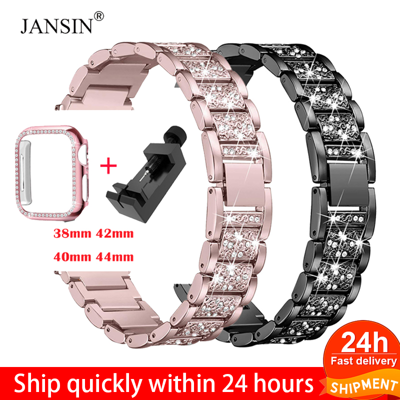 Diamond Band + Case For Apple Watch 40mm 44mm 38mm 42mm IWatch Series 5 4 3 2 1 Bracelet Apple Watch Stainless Steel Strap Women