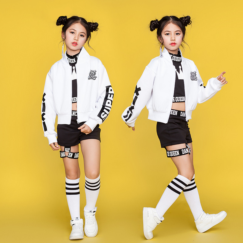 Children Hip Hop Dance Costumes Kids Street Dance Clothing White Jacket Black Vest Shorts Girls Dancewear Stage Outfit