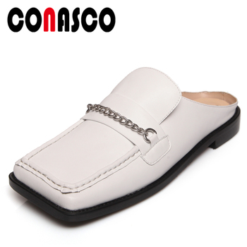 CONASCO 2020 Genuine Leather Women Sandals Low Heels Fashion Chain Square Toe Casual Mules Summer Slippers Flat With Shoes Woman