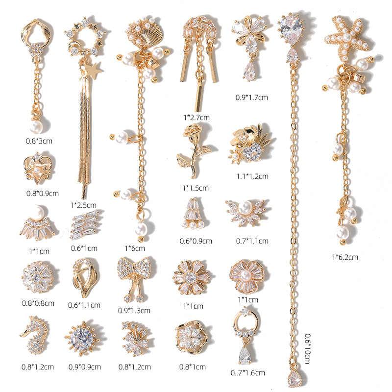 Terbaru 2 Buah Alloy Zircon Dekorasi Nail Art Mewah Zirkon Berlian Imitasi Rumbai/HEART/Sayap Perhiasan Kuku High End panjang Kuku