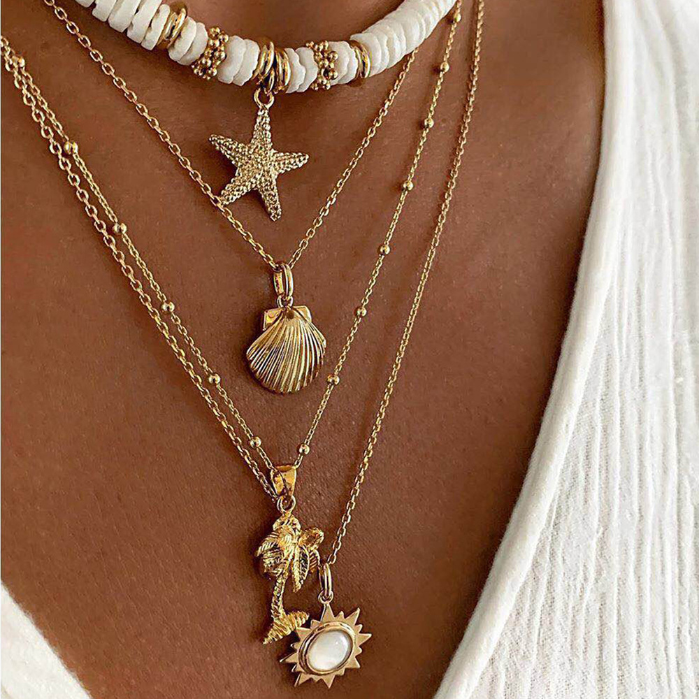Necklace for Women Fashion Soft Pottery Starfish Shell Pendant Necklace Retro Sun Multilayer Necklaces Jewelry Wholesale