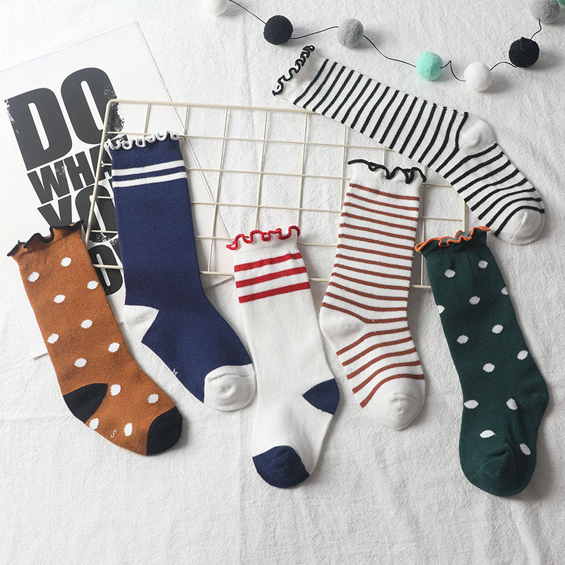 Children Knee High Lace Sock Girls Dot Stripe Leg Warmers Loose Socks For Infant Toddler Autumn Baby Kids Socks For Girls 1-8Y