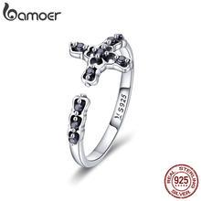 BAMOER – bague classique en argent Sterling 925 pour femmes, bijou ajustable, croix de foi, CZ noir, SCR447