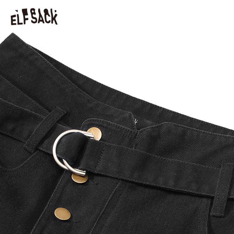 Image 4 - ELFSACK Black Solid Single Button Casual Pants Women 2020 Winter Mid Waist Belted Straight Loose Office Ladies Basic TrousersPants & Capris   -