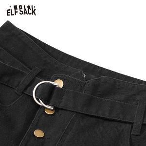 Image 4 - ELFSACK siyah katı tek düğme rahat pantolon kadın 2020 kış orta bel kuşaklı düz gevşek ofis bayanlar temel pantolon