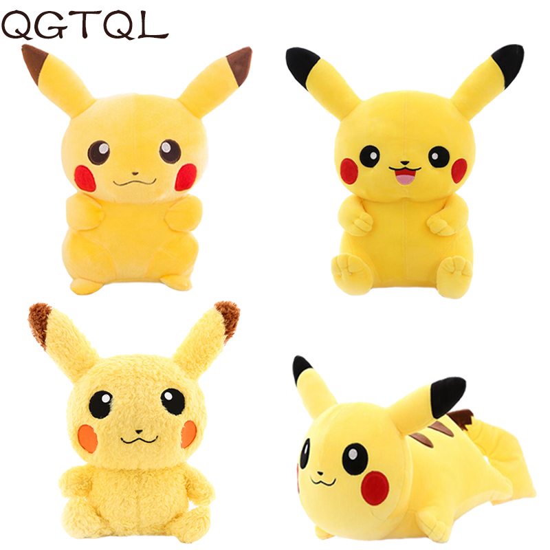 Popular Anime Pikachu Stuffed Soft Animals & Plush Toys Doll For Kids Sleeping Back Pillow Cute Baby Accompany Xmas Gift Toy