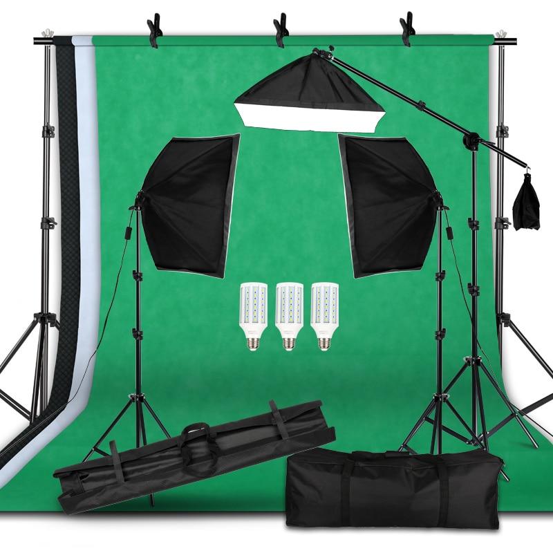 Kit d'équipement d'éclairage professionnel de photographie avec support de fond souple Softbox avec bras de flèche