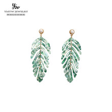 YMYW Acrylic Leaf Dangle Earrings for Women Fashion Boho ZA Statement Long Earrings Trendy Jewelry Party Сhrismas Gifts 2019(China)