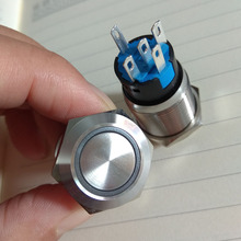 20 Stuks 19Mm Vergrendeling Of Momentary Type Ring Verlichte Led Metalen Drukknop 19Mm 1NO1NC