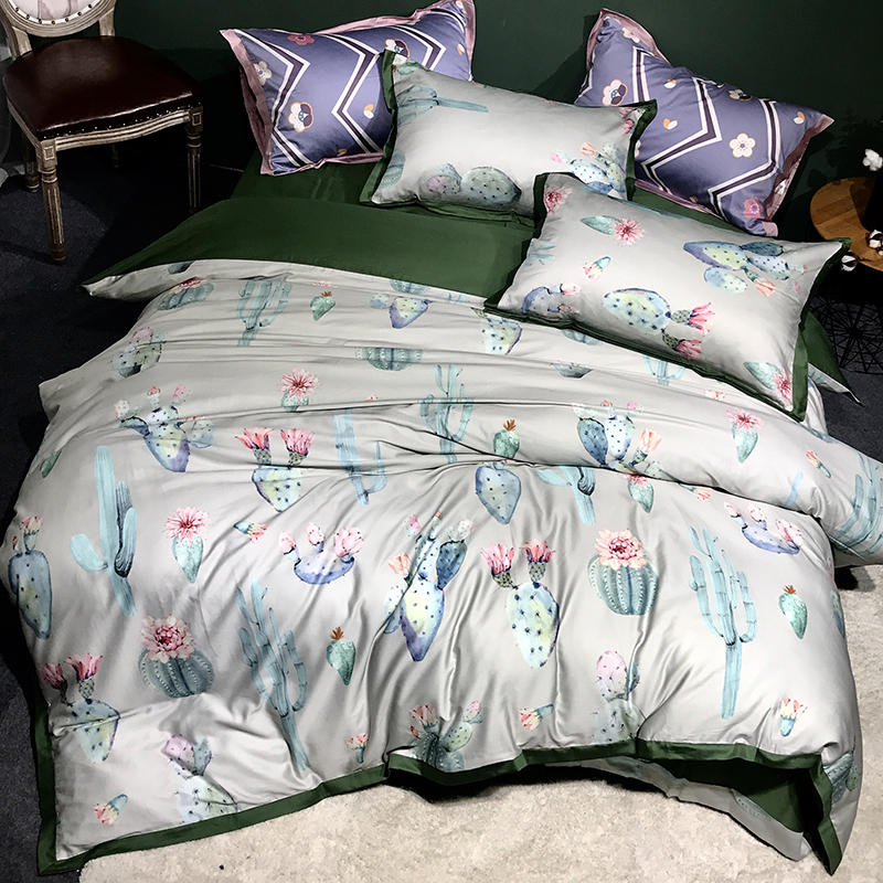 Plant Cactus Leaves Pattern Duvet Cover Bedding Set Soft Egyptian Cotton Quilt Cover Bed Sheet Pillowcases Queen King Size 4Pcs