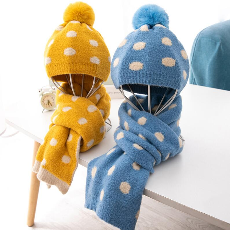 Kid Winter Knit Hat And Scarf Child Warm Dot Hat 2 Piece Set 2019 Baby Boy Girls Ear Protection Pom Pom Cap With Scarves 0-3T