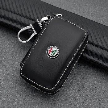 Cartera de cuero PU con diseño de coche para hombre y mujer, cartera con cremallera para llaves, funda con hebilla para llaves para Alfa Romeo