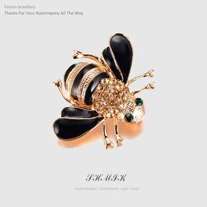 Fashion Enamel Bee Brooches Esmalte Gold Color Champagne Rhinestone Hijab Pins juego de tronos Halloween joyas High Quality(China)