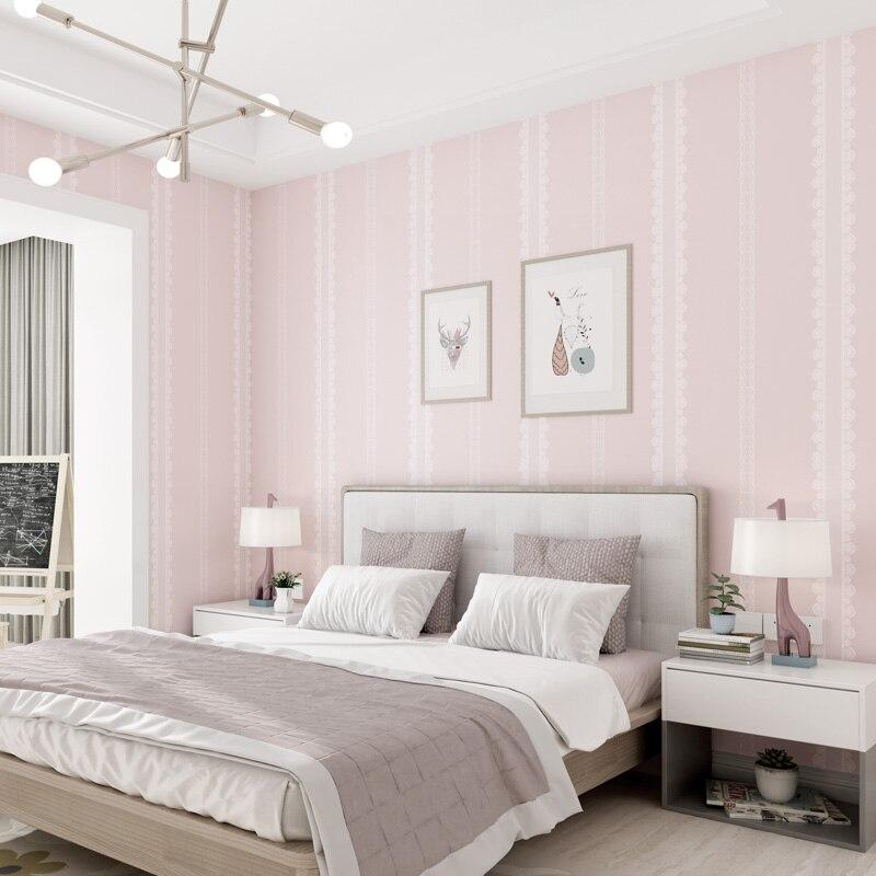 Elegant Lace Stripe Wallpaper Bedroom Decor Light Green Pink Grey Self Adhesive Wall Paper Diy Kids Room Papel De Parede EZ257