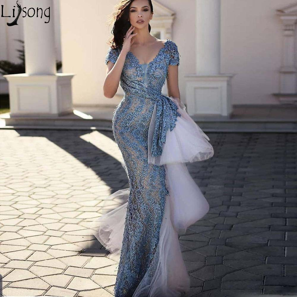 Full Lace Beaded Mermaid   Prom     Dresses   2020 New V Neck Short Sleeve Layered Tulle Chic Evening   Dress   Arabic Formal Gown Maxi Robe