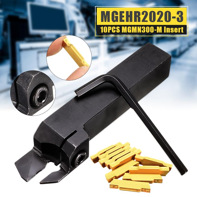 MGEHR2020-3 Lathe External Grooving Cut Borning Bar Turning Tool Holder + 10PCS MGMN300-M Carbide Insert 3mm Width