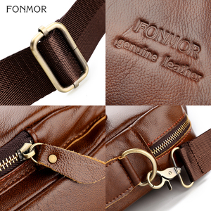 Image 5 - Fonmor Men Genuine Leather Briefcase 15.6Laptop Messenger Bags Female Business Crossbody Shoulder Bags Casual Tote Handbag New