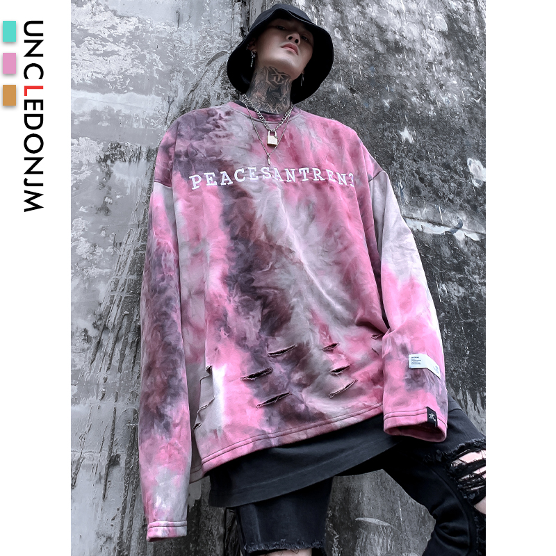 UNCLEDONJM Kanye West Tie Dyed Hip Hop Sweatshirt Letter Embroidery Damaged Crewneck Hoodie Fashion Streetwear Sweatshirt SA809