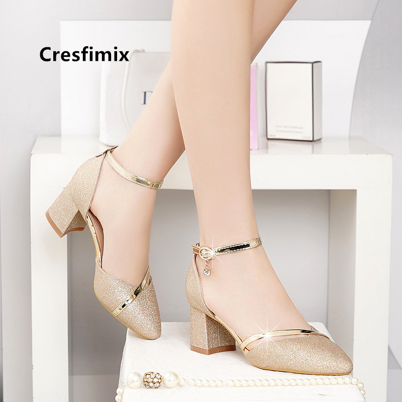 Cresfimix Bridal Sexy Wedding Party Square Heel Pumps For Ladies Women Fashion Golden High Heel Shoes Silver High Heels A5574