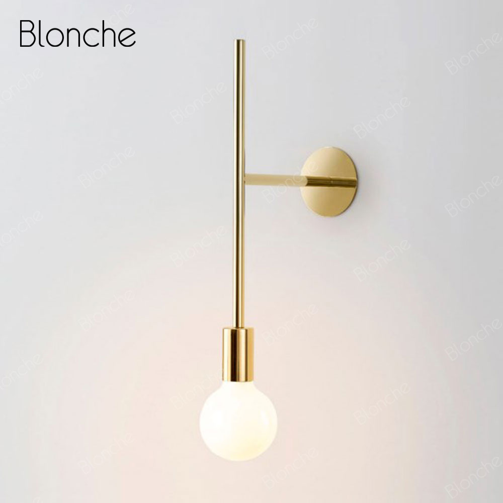 Nordic Wall Lamp Iron Gold Wall Light Modern Design Bedside Lamp For Home Bedroom Living Room Stairs Decor Led Light Fixtures