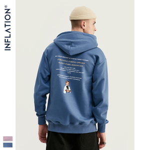 Image 4 - INFLATION FW 2020 Dropped Shoulders Men Hoodies In Pink And Blue With Letter Printing Oversized Men Design Autumn Hoodie 9615W