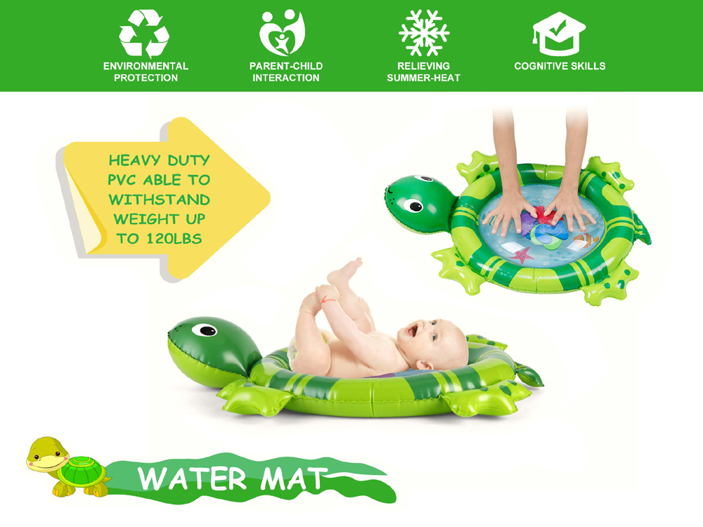 H4eb11ab0536449a7b1e3feccc6c709eab 36 Designs Baby Kids Water Play Mat Inflatable PVC Infant Tummy Time Playmat Toddler Water Pad For Baby Fun Activity Play Center