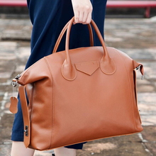 Luxury Natural Leather Handbags Tote Euro Fashion 100% Genuine Leather Hobos Tote Women Big Shopping Purse Casual Bags