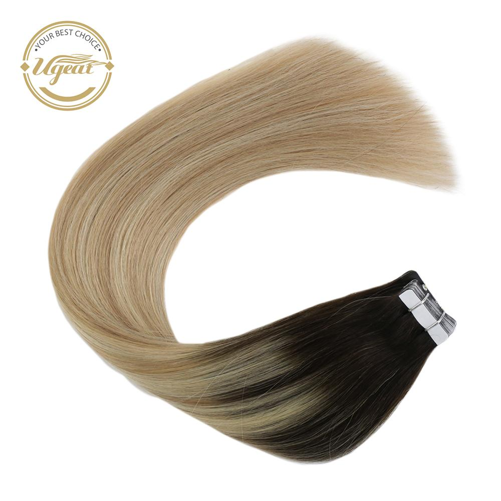 [17 Colors] Ugeat 12-24'' Tape In Hair Extensions 100% Human Hair 20pcs/40pcs Machine Remy Seamless Invisible Skin Weft 2.5g/pcs