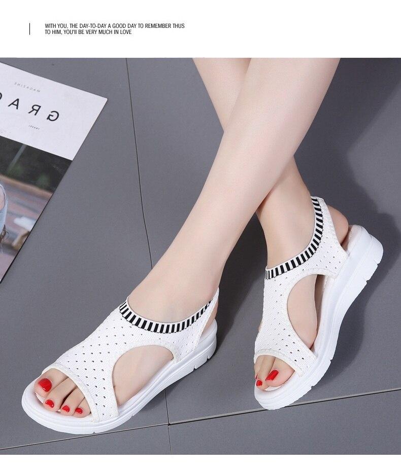 H4eb12c7908bc4c62939452b7a758cd5dn WDZKN 2019 Sandals Women Summer Shoes Peep Toe Casual Flat Sandals Ladies Breathable Air Mesh Women Platform Sandals Sandalias