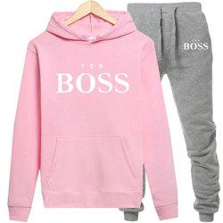 Chándal de invierno para mujer, conjunto de dos piezas, ropa deportiva informal con estampado de letra rosa, sudadera con cremallera y pantalones