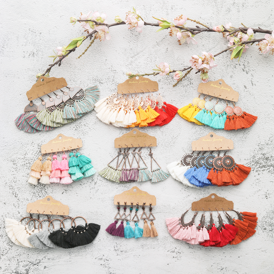 2020 Trendy Sundry Colors Boho Ethnic Tassel Dangle Drop Earrings Bundles for Women 3 Pairs/Set Earrings Jewelry Accessories