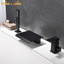 Matte Black น้ำตกก๊อกน้ำอ่างอาบน้ำ bath ร้อนเย็นแตะห้องน้ำ Mixer สแควร์น้ำตกห้องน้ำอ่างอาบน้ำก๊อกน้ำชุด