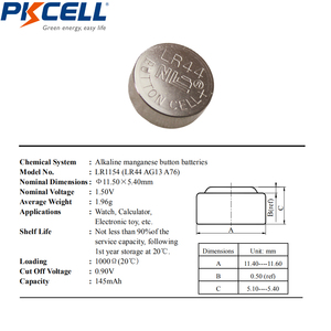 Image 2 - 100Pcs/10card 1.5V AG13 LR44 L1154 RW82 RW42 SR1154 SP76 A76 357A Battery Coin Cell Button Batteries for thermometer battery