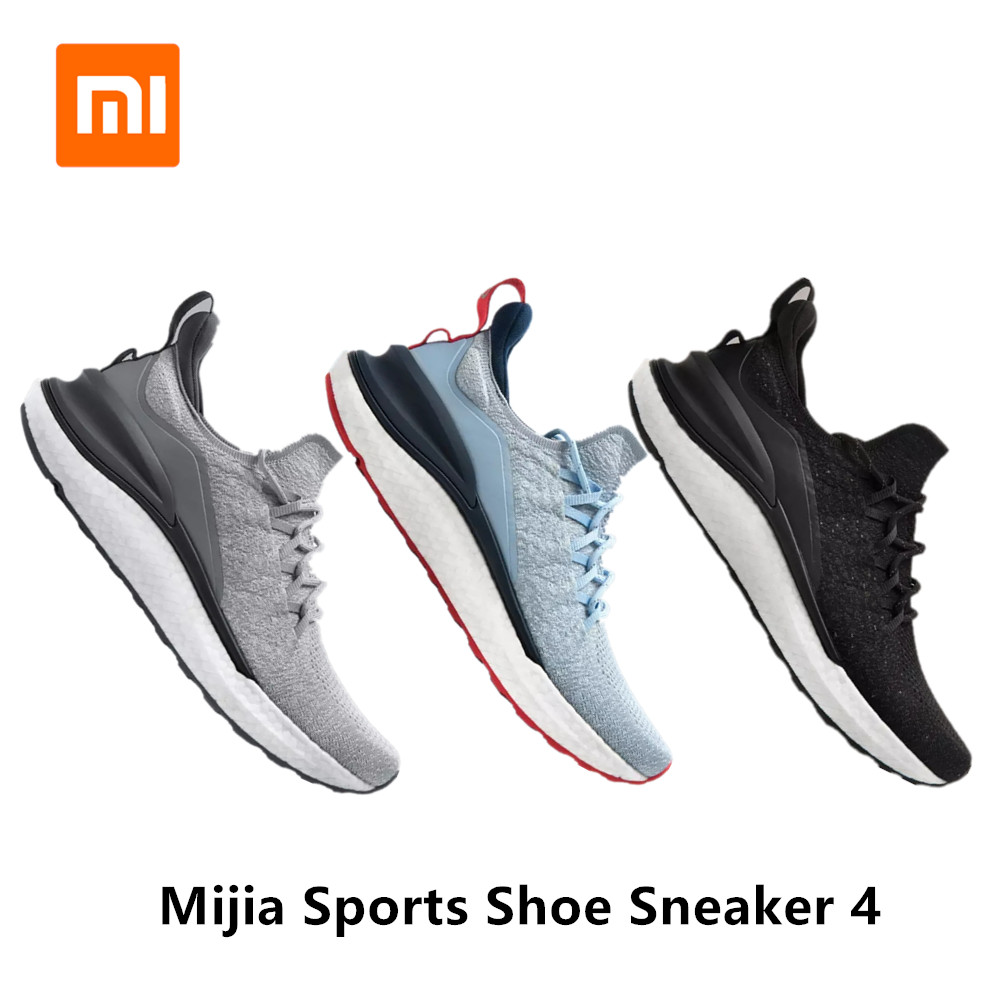 2020 Xiaomi Mi Mijia Sports Shoes Sneaker 4 Outdoor Men Running Walking Lightweight Comfortable Breathable 4D Fly Woven Upper