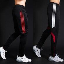 Los hombres deportes pantalones con cremallera atlético fútbol pantalón de fútbol entrenamiento deportivo elasticidad de los pantalones Legging jogging pantalones de gimnasio