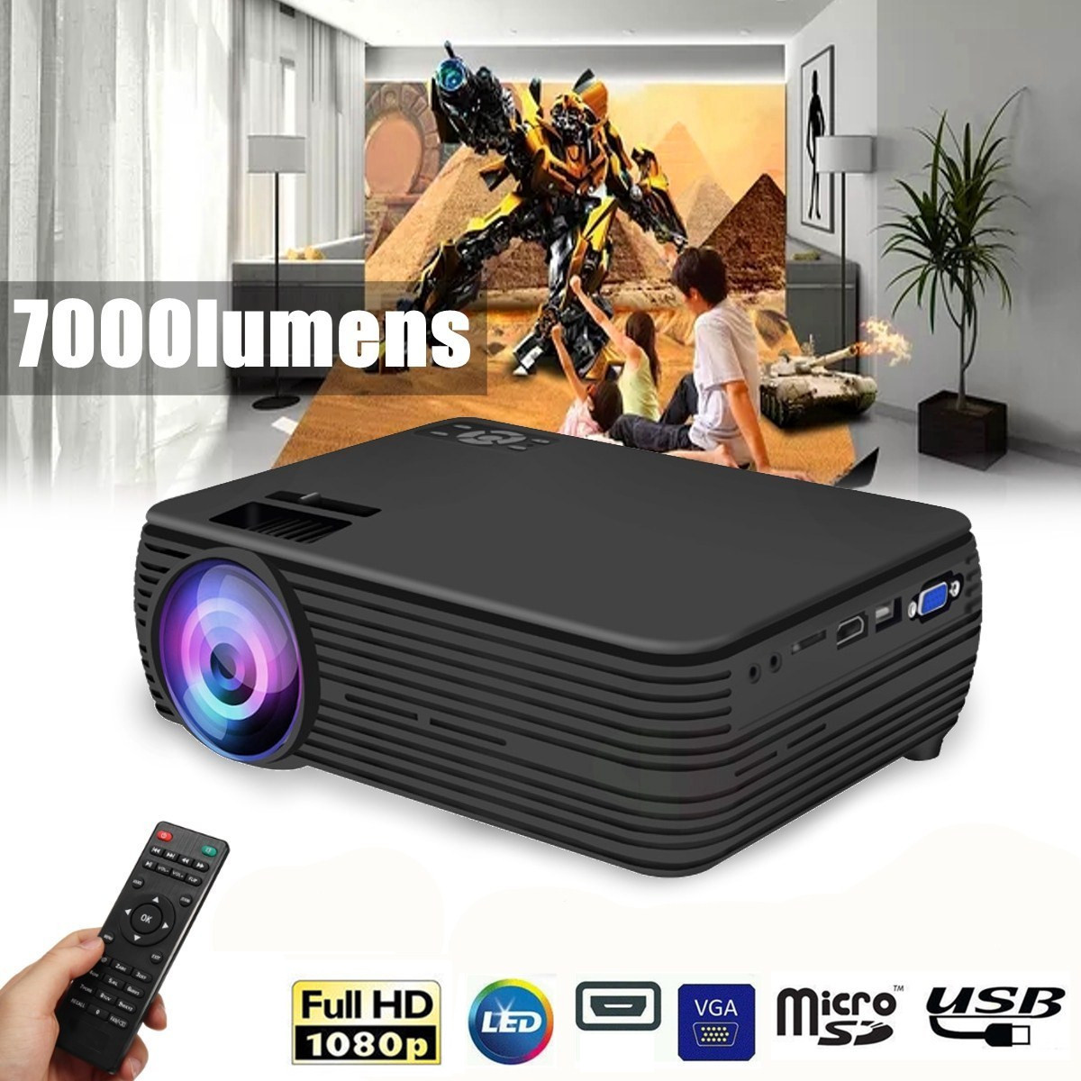 Projector - TheaterMax™ X5 LCD Projector 7000 Lumens Support 1080P HD Multimedia Home Cinema Smart Home Theater
