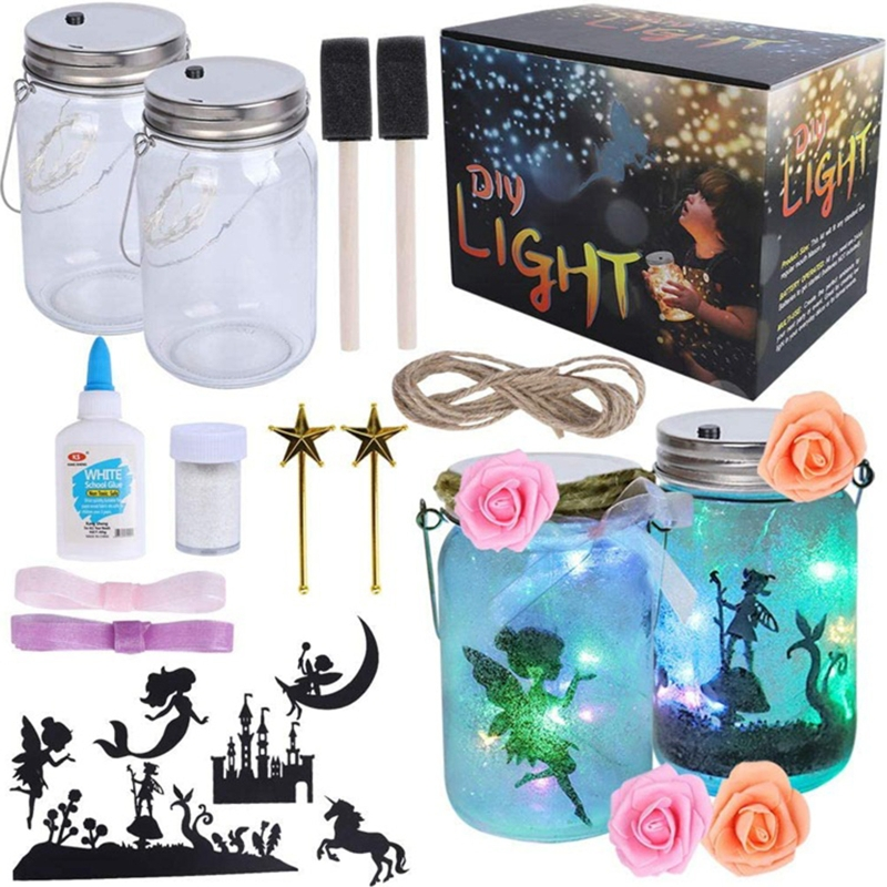 Girl Elf Craft Kit-Fun DIY Art and Craft Project for Kids-Make Your Own Elf in a Jar-Great Gift for Art Deco Projects