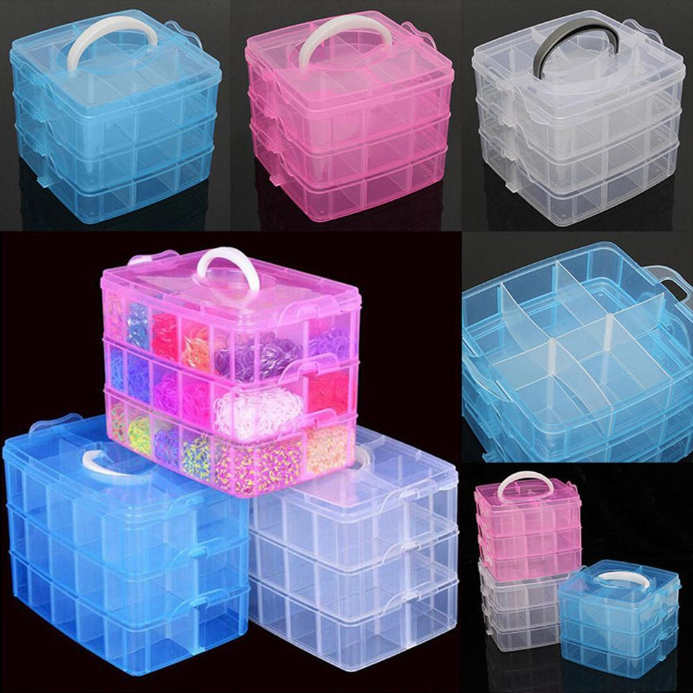3 Layers 18 Compartments Clear Storage Box Container Jewelry Bead Organizer Case Home Storage & Organization Bead Pills Organize