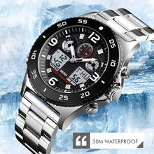 SKMEI ビジネス時計男性腕時計クォーツデュアルディスプレイ腕時計ファッションカジュアル 3 時間防水ストップウォッチ時計レロジオ Masculino