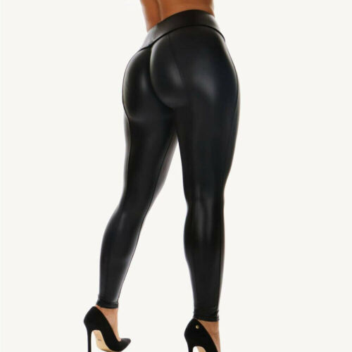 Goocheer High Stretch PU Leather High Waist Legging Women Black Faux Leather Biker Leggings Push Knee Length Sexy Long Pants