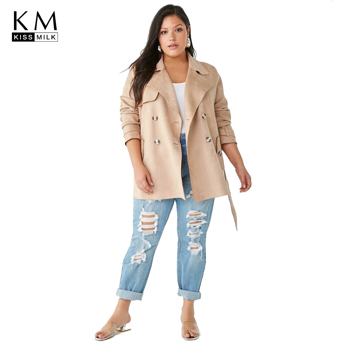 Kissmilk Plus Size Woman Clothes Casual Solid Color Suede Double-breasted Tiebreaker