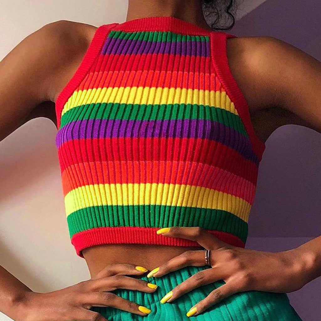 Rajutan Rainbow Bergaris Rompi Musim Panas Seksi TOP Leher O Tanpa Lengan Tank Top Pendek Crop Top T Shirt Топ Женский 2020